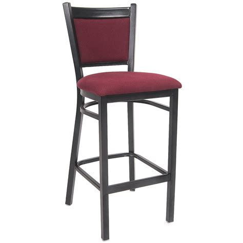 Best Fabric For Bar Stools by Black Metal Bar Stool With Burgundy Fabric Seat And Back