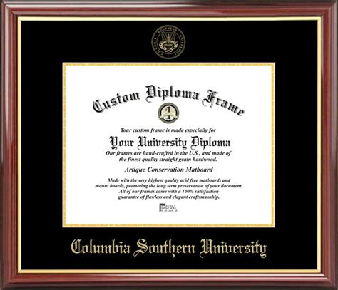 Mba Columbia Southern Human Resources Degree by Columbia Southern Diploma Frame Embossed Seal