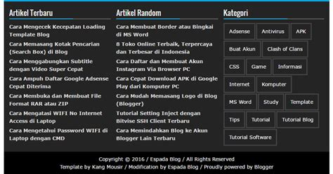 membuat widget footer wordpress cara membuat widget footer 3 kolom di blog espada blog