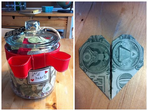 wedding money gift a recent wedding gift a jar of money folded into origami hearts the tag read quot a jar of