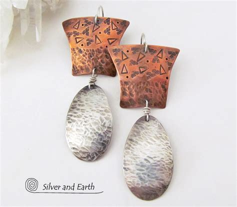 Silver Handcrafted Jewellery - mixed metal earrings with sterling silver copper