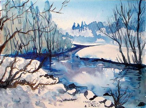watercolor river tutorial let s paint an icy cold landscape the frugal crafter blog