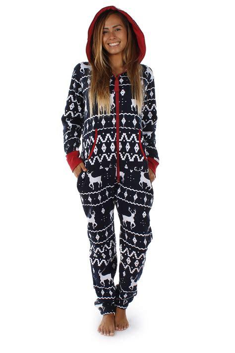 christmas pattern jumpsuit womens ladies onesie casual hoodies jumpsuit deer print