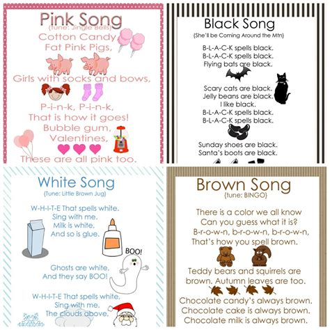 color song my gems preschool color songs free printables
