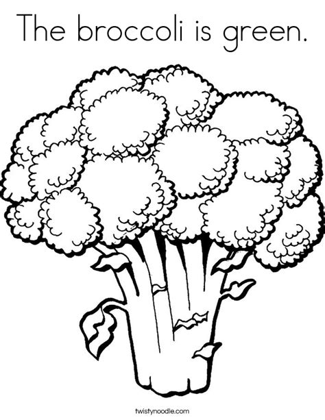 the broccoli is green coloring page twisty noodle
