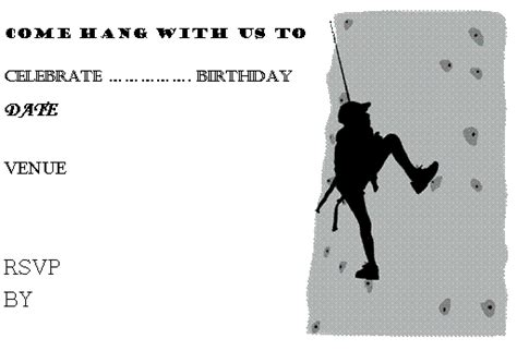 printable birthday invitations rock climbing yvonne byatt s family fun liam s climbing wall party