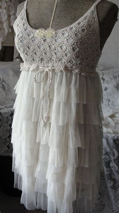 shabby chic romantic lace crochet dress