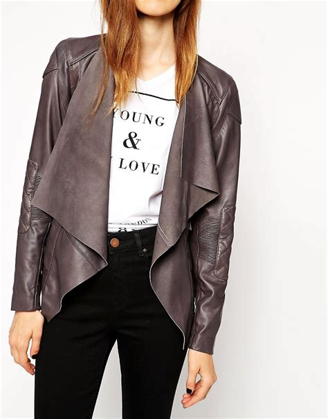 Asos Jacket In Quilt Detail asos asos leather jacket with waterfall front and quilt