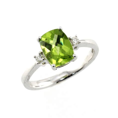 Ring Peridot 18ct white gold 1 93ct peridot 0 07ct ring jewellery from mr harold and uk
