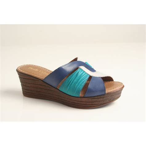 Wedges Slip On Korea 1 paula paula blue leather slip on wedge with silver and turquoise contrast and