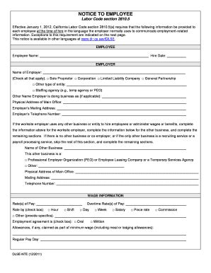 notice to employee labor code section 2810 5 2011 form ca dlse nte fill online printable fillable