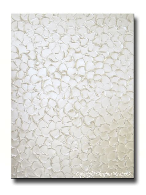 white wall decor custom original painting abstract pearl white wall