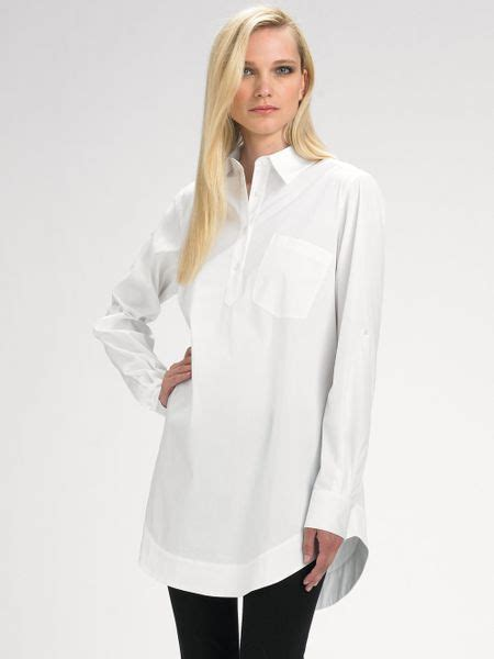 Tunic Blouse White lafayette 148 new york tunic blouse in white lyst
