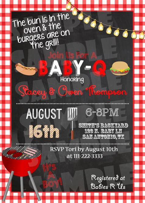 free baby q invitations templates quot bbq baby shower invitation quot quot babyq shower invite