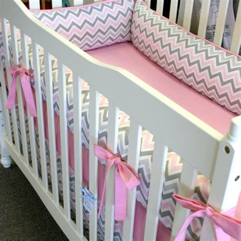 Pink And Gray Chevron 4pc Girl Crib Bedding Made To Order Gray And Pink Chevron Crib Bedding