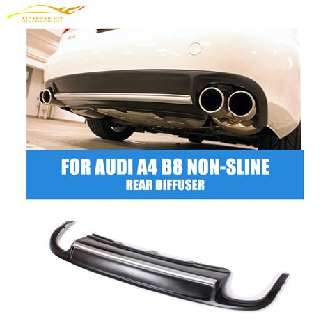 Bumper Sam S4 Silver s4 style pu black painted rear lip diffuser spoiler with silver fit for audi a4 b8