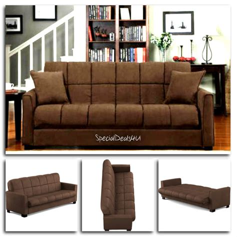Brown Futon Sofa Bed Futon Convertible Sofa Bed Microfiber Sleeper Living Room Furniture Brown Ebay
