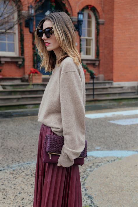 pleated midi skirt and sweater jess kirby