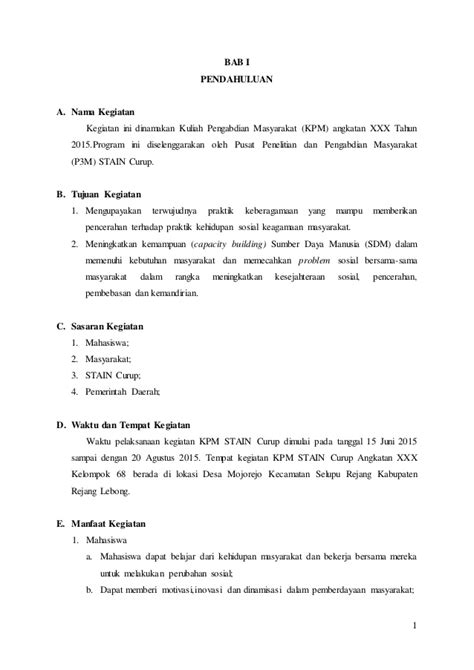 format laporan pengabdian masyarakat contoh laporan kkn kpm stain curup