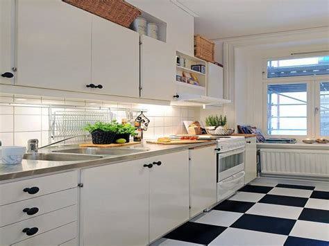 black and white kitchen floor tiles wood floors