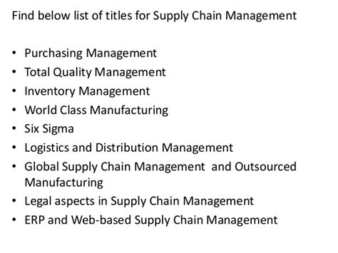 Mba In Logistics And Supply Chain Management Distance Education by Project Report Titles For Mba In Supply Chain Management