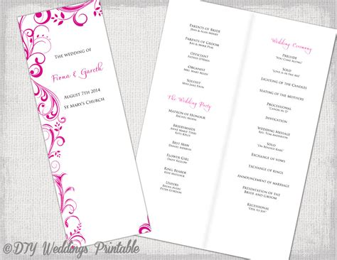 28 order of service template wedding order of