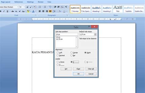cara membuat titik pada daftar isi di komputer cara membuat daftar isi dengan titik titik otomastis di