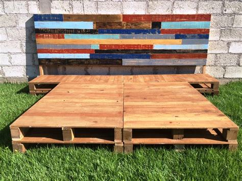 Bed Frame Made From Wooden Pallets Diy Pallet Bed Frame With Headboard 99 Pallets