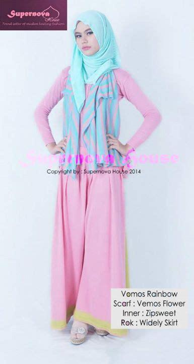 Baju Wanita Muslimah Zipper Rainbow Warna Pink vemos rainbow tosca pink baju muslim gamis modern