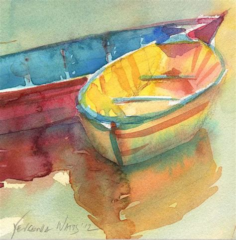yellow boat paint little yellow boat original watercolor painting