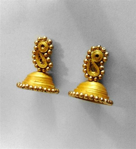 Paper Jhumkas - paper quilled golden jhumka shopping