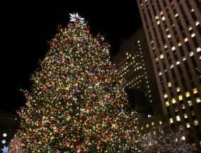 on white rockefeller center christmas tree in new york