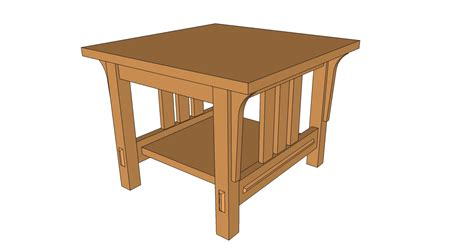 end table arts and crafts style sketchup model and pdf plan brian benham