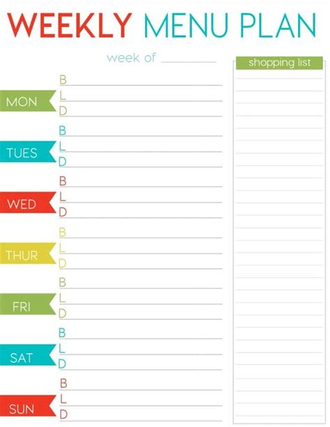 free printable menu planner with snacks free weekly menu planner printable