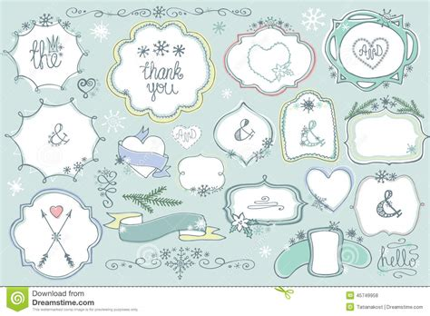 free doodle labels doodle colored labels badges frame decor element winter