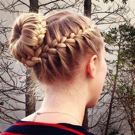 Braided Hair Bun best 25 gymnastics hair ideas on gymnastics