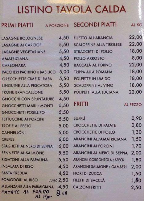 menu per tavola calda i nuovi gladiatori a roma foto menu con prezzi