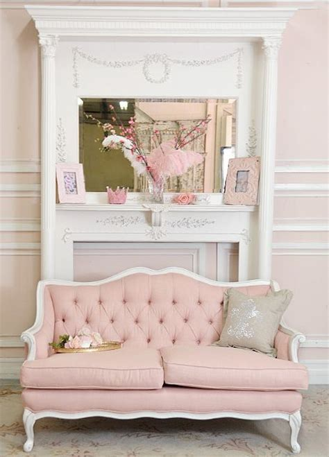 shabby cottage chic pink linen tufted french style