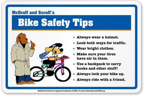 biker safety mcgruff 174 and scruff s bike safety tips sign sku k 4068