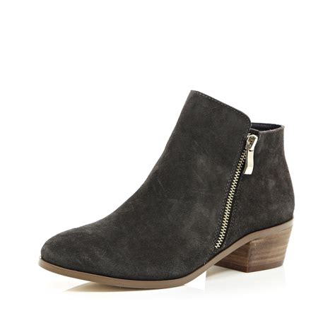 gray suede boots lyst river island grey suede zip side ankle boots in black
