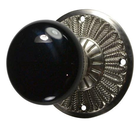 Black Interior Door Knobs Feathers Black Porcelain Door Knob Brushed Nickel Finish