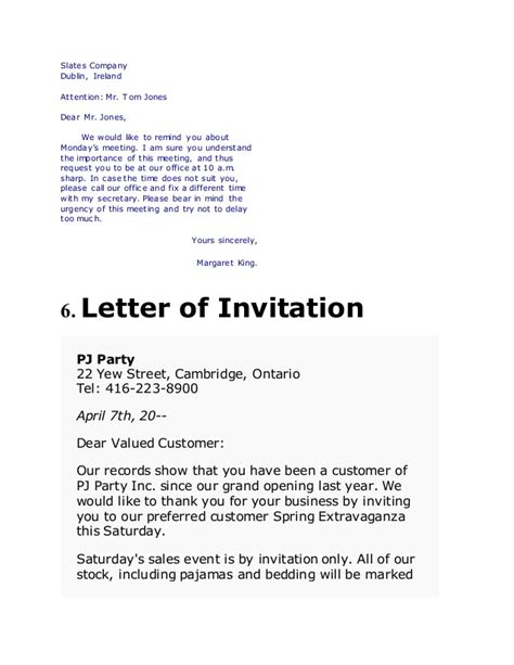 sle of formal letter of invitation types of business letters