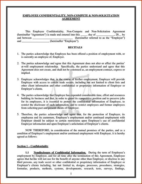 confidentiality and non compete agreement template confidentiality and non compete agreement template