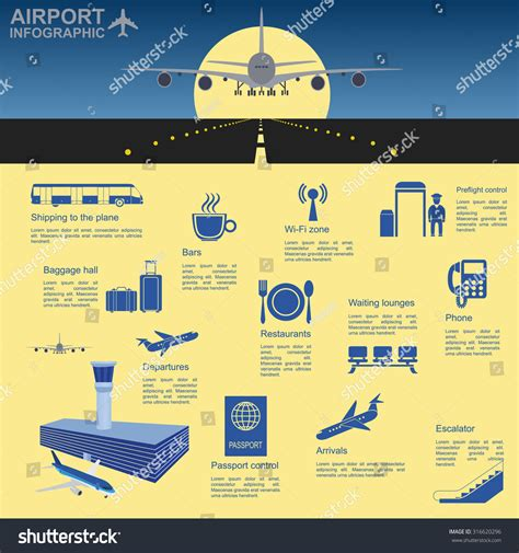 Airport Air Travel Infographic Design Elements Stock Vector 316620296 Shutterstock Travel Infographic Template