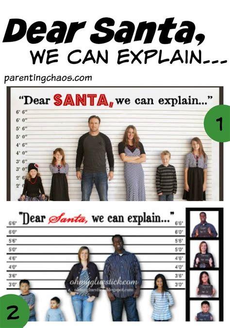 65 Creative Christmas Card Themes Holidaycardthemes Dear Santa We Can Explain Card Template