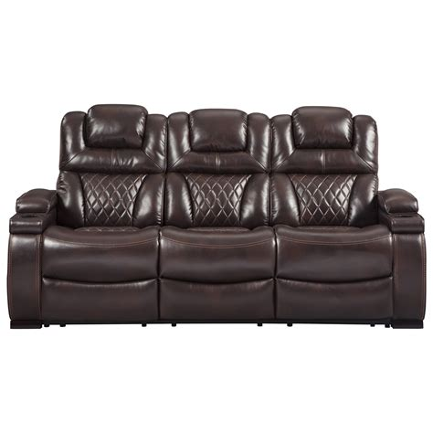 signature leather reclining sofa signature design warnerton 7540715 power reclining
