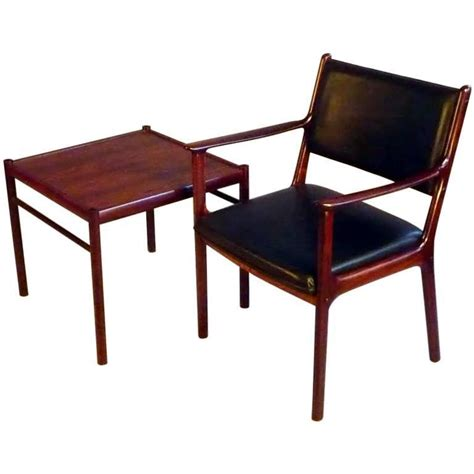 Armchair Side Table by 1950s Ole Wanscher Pj412 Black Rosewood Armchair And Side