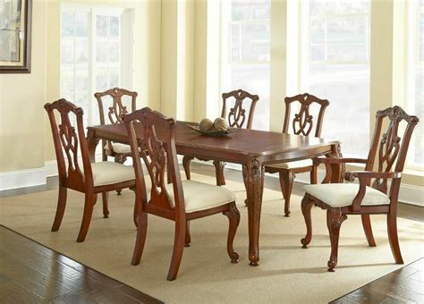 traditional dining room chairs charity 7pc dining room set in cherry table chairs formal