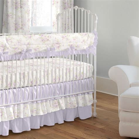 Lavender Shabby Floral 3 Piece Crib Bedding Set Carousel Crib Bedding Sets