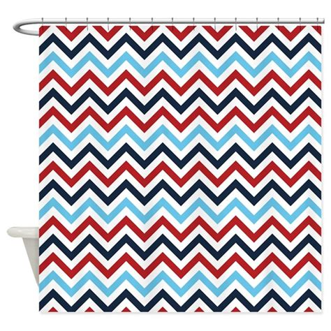 red white shower curtain red white and blue zig zags shower curtain by colorfulpatterns